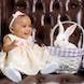 Easter Special: baby picture girl brown chair bunny
