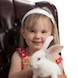 Easter Special: child in brown chair with bunny