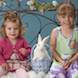 Easter Special: sisters portrait iron bench and bunny
