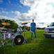 Senior Pictures: Senior boy with drumset and pickup truck in park