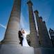 columbia missouri wedding photographer: bride and groom at columns